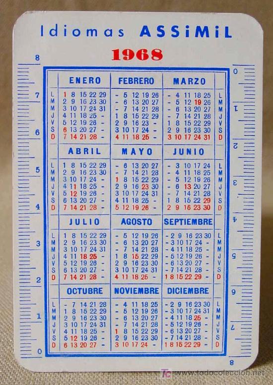 Calendario 1968.Calendario 1968 Assimil Academia De Idiomas Valencia