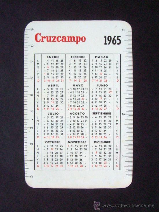 Calendario Del Ano 1965.Calendario De Bolsillo Cerveza Cruzcampo Ano 1965 Bebida Publicidad Anos 60 Mujer Bebiendo