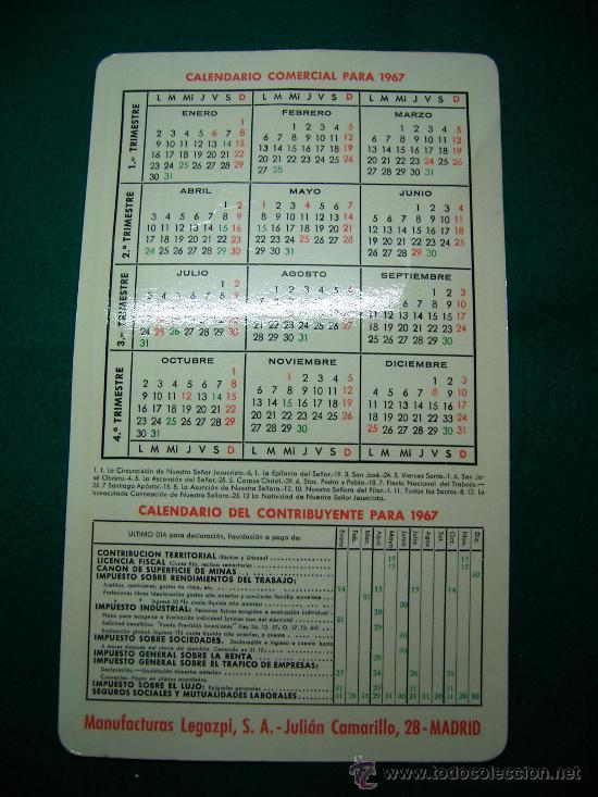Coleccionismo Calendarios: CALENDARIO TIPO BOLSILLO DE TAMAÑO CUARTILLA MANUFACTURAS LEGAZPI 1967 - Foto 2 - 16970403