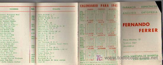 CALENDARIO 1961 - LISTA SANITARIA DE MANRESA -FARMACIA FERRER (Coleccionismo - Calendarios)