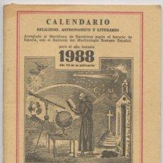 Coleccionismo Calendarios: CALENDARIO *ERMITAÑO DE LOS PIRINEOS*, 1988 - FRAY RAMON. Lote 23371010