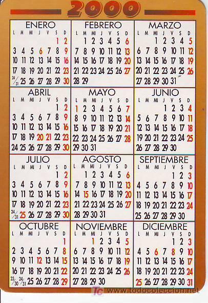 Calendario Del 2000.Calendario Ano 2000