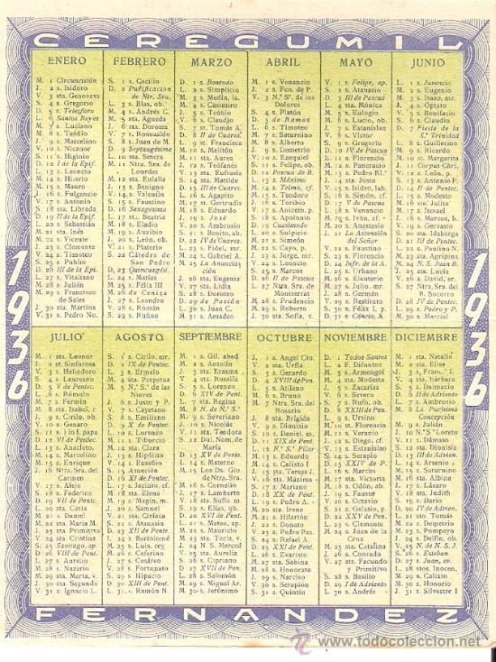 Calendario 1936.Calendario 1936 Cergumil