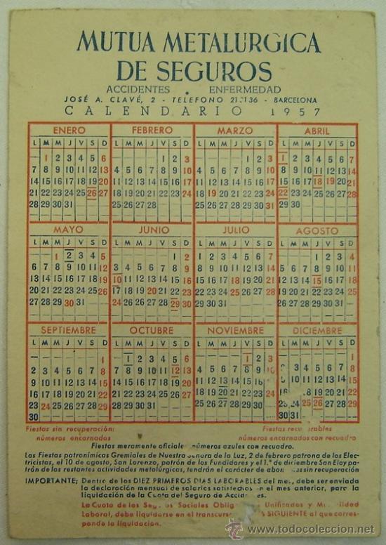 Calendario Del Ano 1957.Calendario Ano 1957 Mutua Metalurgica De Seguros Accidentes Enfermedad Barcelona