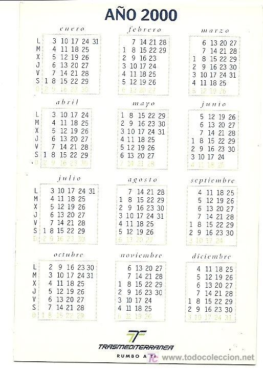 Calendario Julio Del 2000.Calendario De La Compania Trasmediterranea Ano Sold