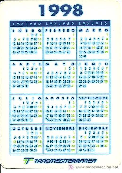 1998 Calendario.Calendario De La Compania Trasmediterranea Ano 1998