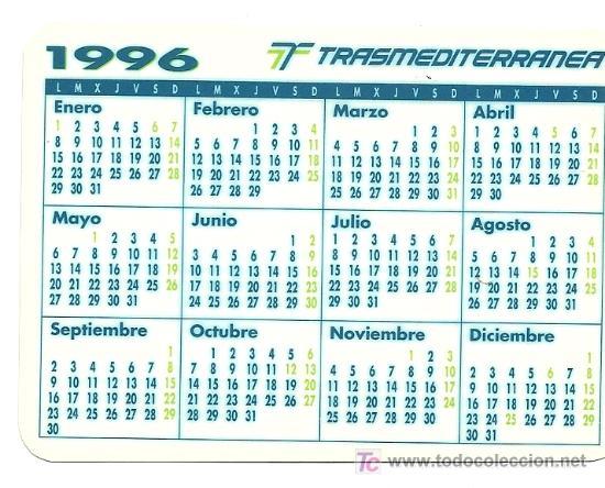 Calendario 1996.Calendario Ano 1996