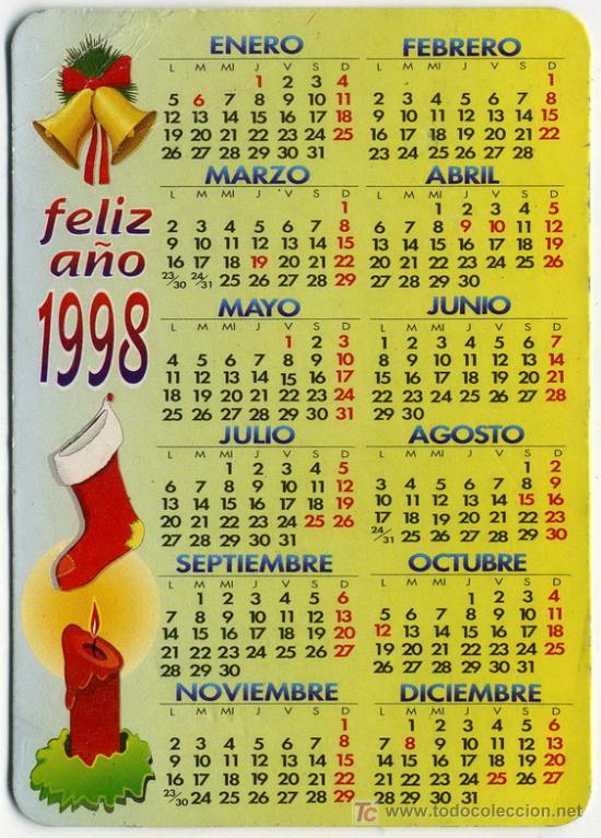 1998 Calendario.Calendario Ano 1998 Feliz Ano 1998 Sold Through Direct