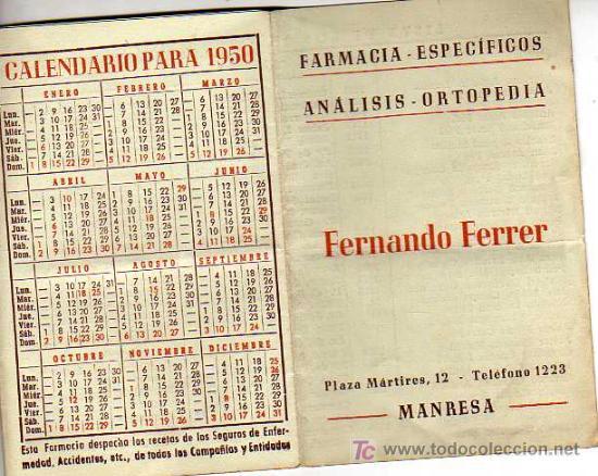 ALMANAQUE CALENDARIO DE LA FRAMACIA DE MANRESA FERNANDO FERRER 1950LISTA DE MEDICOS -PRACTICANTES (Coleccionismo - Calendarios)