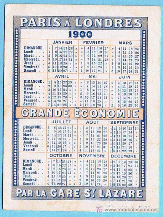 Calendario 1900.Calendario Para 1900 Chemins De Fer De L Oest Sold