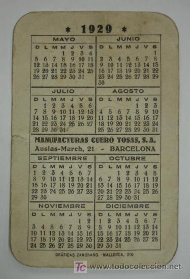Calendario 1929.Calendario Para 1929 Con Publicidad De Correas Sold At