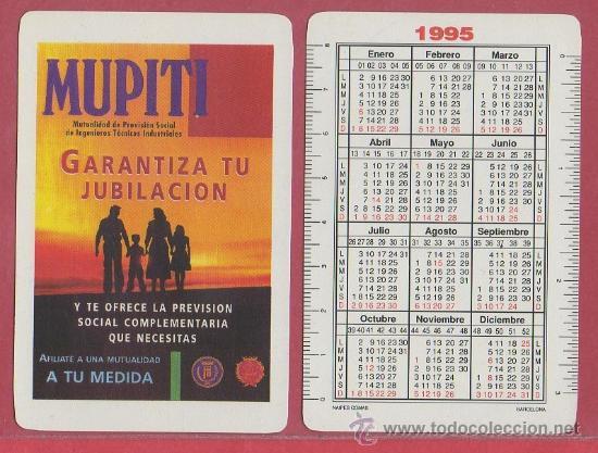 CALENDARIO DE BOLSILLO COMAS NEGSA 1995 MUPITI SEGUROS MUTUALIDAD NAIPE BARAJA (Coleccionismo - Calendarios)