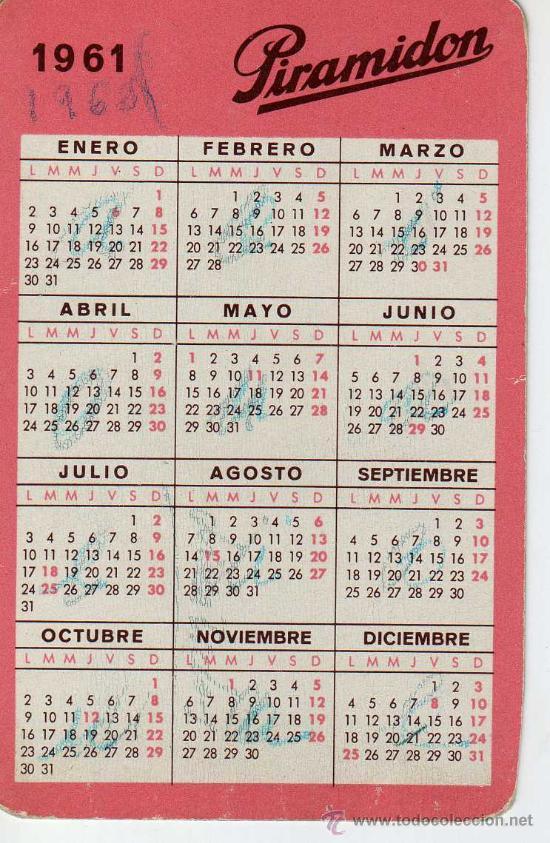Calendario Del 1961.Calendario 1961 Piramidon Serie Farmaceuticas