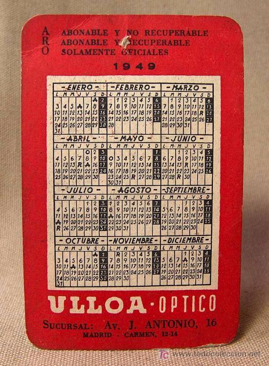 Calendario 1949.Calendario 1949 Ulloa Aro Optica Sold At Auction