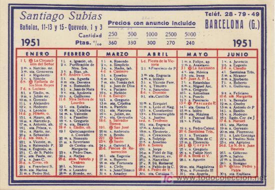 Calendario 1951.Calendario 1951 Santiago Subias Barcelona Sold At