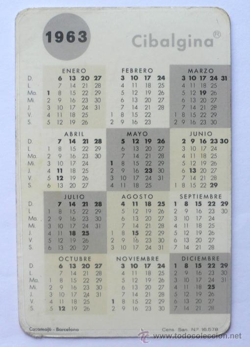 Calendario 1963.Calendario 1963 64 Sold Through Direct Sale 20603000