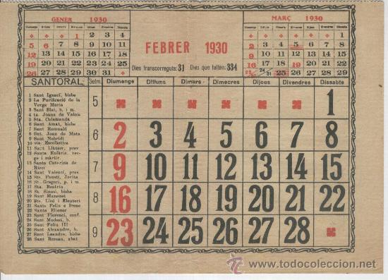 Calendario 1930.Hoja De Calendario Fulla De Calendari Catala Any 1930 Format Rar