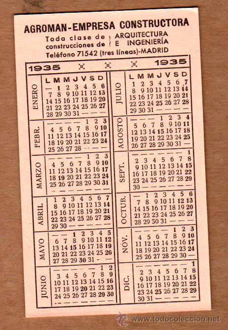 Calendario 1936.Calendario De Agroman Ano 1935 Y 1936 Al Reve Sold At