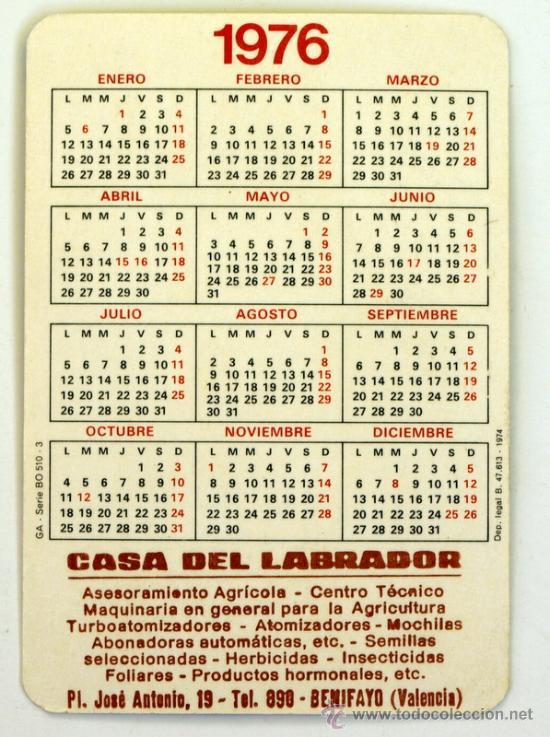 Calendario 1976.Calendario Ano 1976 Casa Del Labrador Benifayo Valencia
