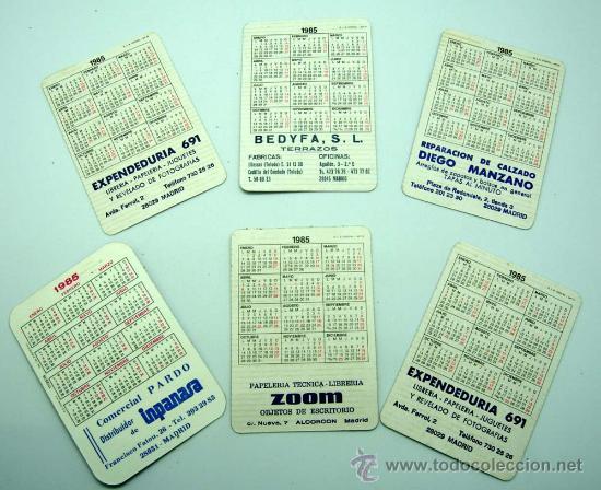 Coleccionismo Calendarios: 6 calendario bolsillo 1985 Bedyfa terrazos Comercial Pardo Zoom papelería Expendiduría 691 Madrid - Foto 2 - 21795079