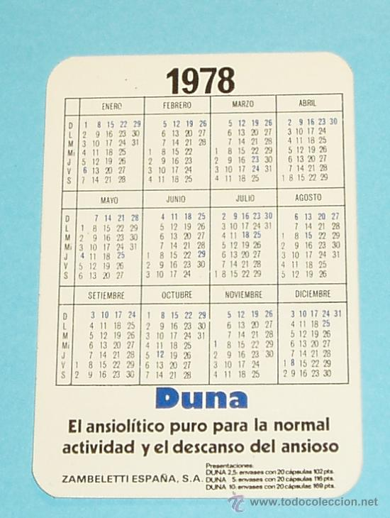 1978 Calendario.Calendario 1978 Duna Zambeletti Espana