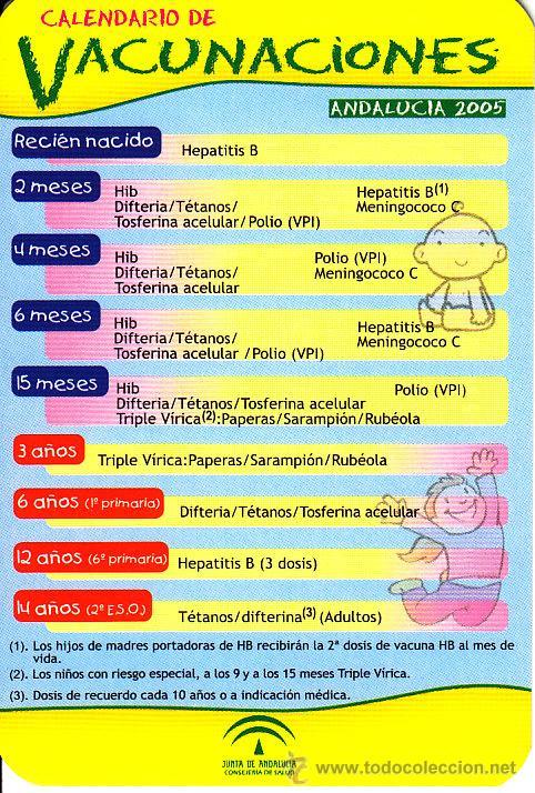 Calendario Vacunal Andalucia 2019.Calendario 2005 Vacunaciones Junta De Andaluc Vendido En Venta