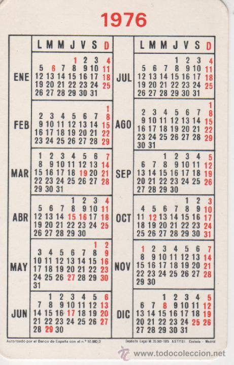 Calendario 1976.Calendario 1976 Banco Occidental