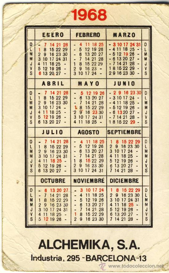 Calendario 1968.Calendario 1968 Mik Mik De Alchemika S A
