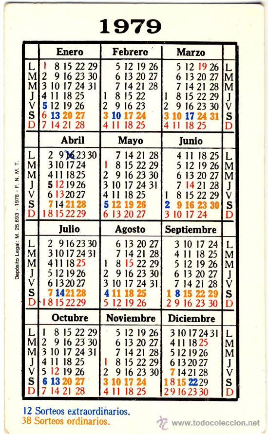 Calendario Del 1979.Calendario 1979 Loteria Nacional Sorteos 1979