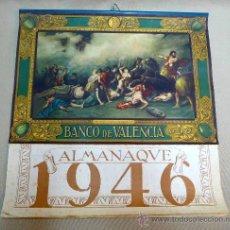 Coleccionismo Calendarios: CALENDARIO, ALMANAQUE DE PARED, BANCO DE VALENCIA, 1946, 48 X 48 CM, GALERIA DE PINTORES VALENCIANO. Lote 25214044