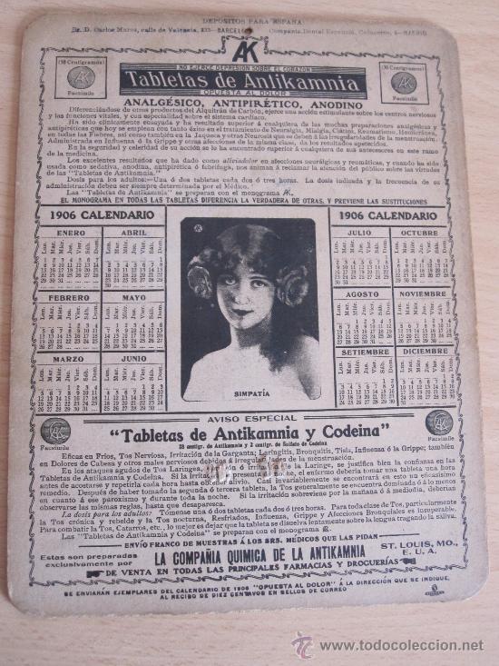Calendario 1906.Calendario Publicitario Tabletas Antikamnia 190 Sold
