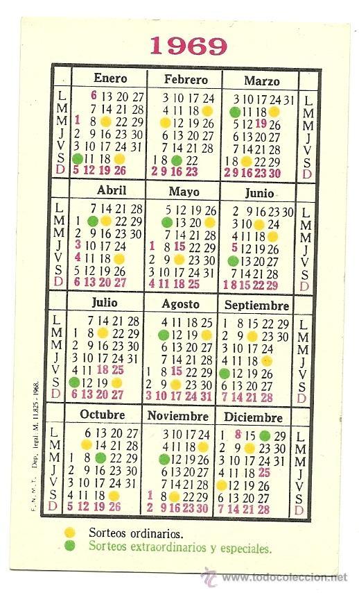 Calendario Del Ano 1969.Calendario De Loteria Nacional Ano 1969