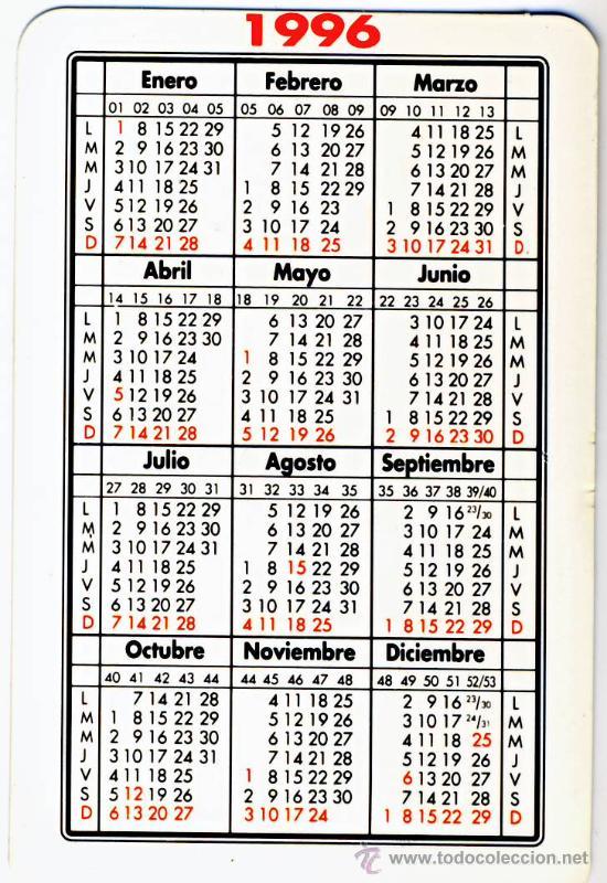 Calendario 1996.Calendario 1996 Loterias Y Apuestas Del Estado