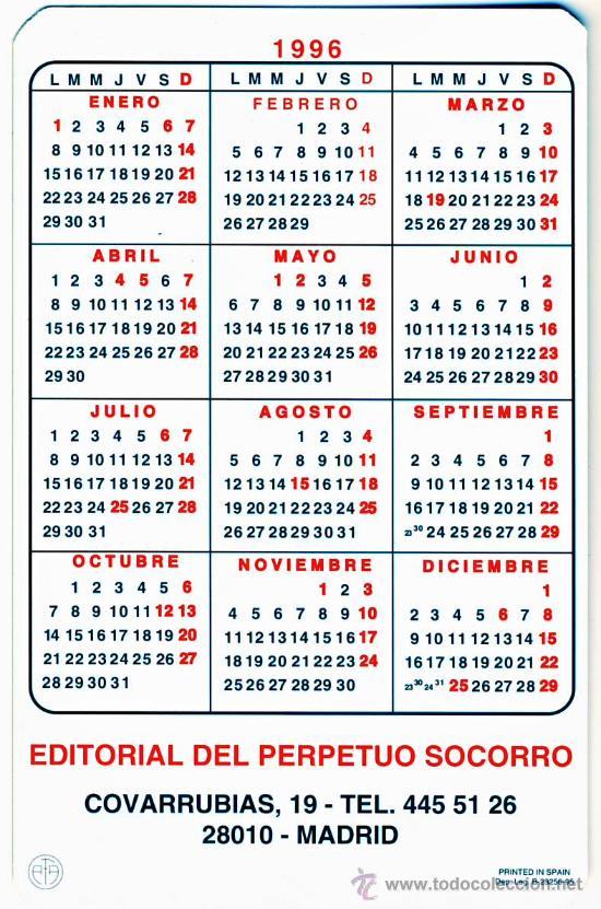 Calendario 1996.Calendario 1996 Ntra Sra Del Perpetuo Socorro 2