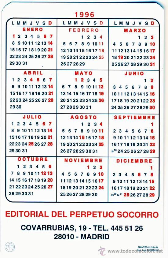 Calendario 1996.Calendario 1996 Ntra Sra Del Perpetuo Socorro 3