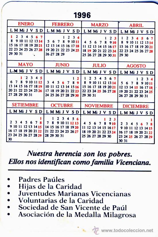 Calendario 1996.Calendario 1996 Virgen Milagrosa