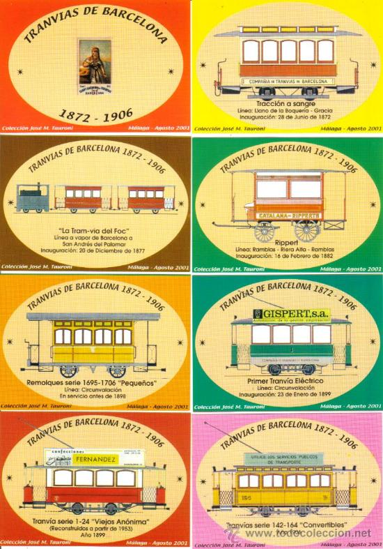 COLECCIÓN COMPLETA DE 8 CALENDARIOS DE TRANVIAS ANTIGUOS DE BARCELONA DE 2002 (Coleccionismo - Calendarios)