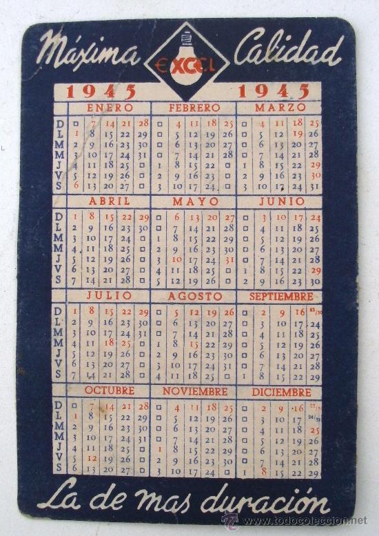 Calendario Con Excel.Calendario Con Publicidad Bombilla Excel 1945 Una Esquina Doblada