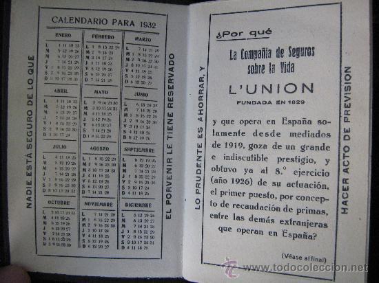 Calendario 1932 Espana.Agenda Calendario Ano 1932 L Union Fundada En 1829 Una Hoja Pintada Y Varias Numeradas Ver Fotos