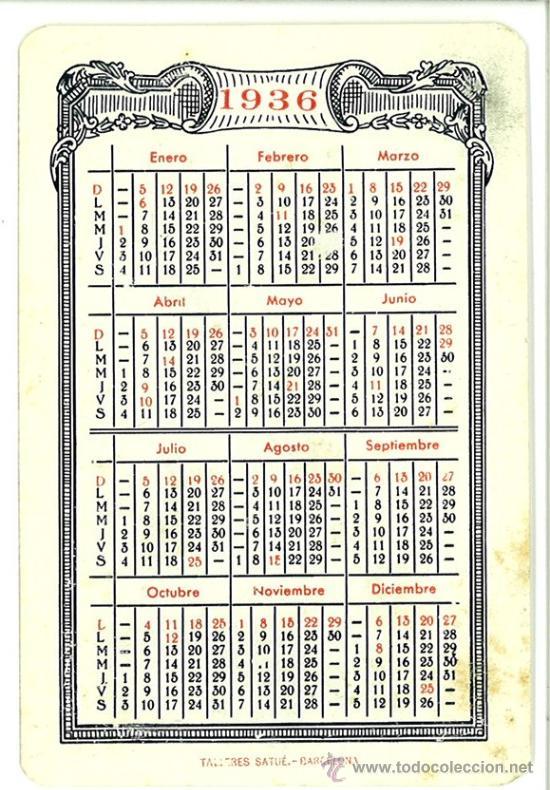 Calendario 1936.Calendario 1936 Banco Hispano Colonial Caja De Sold