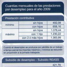 Coleccionismo Calendarios: 2207-CALENDARIO 2009-INEM- PRESTACIONES DESEMPLEO. Lote 28862891
