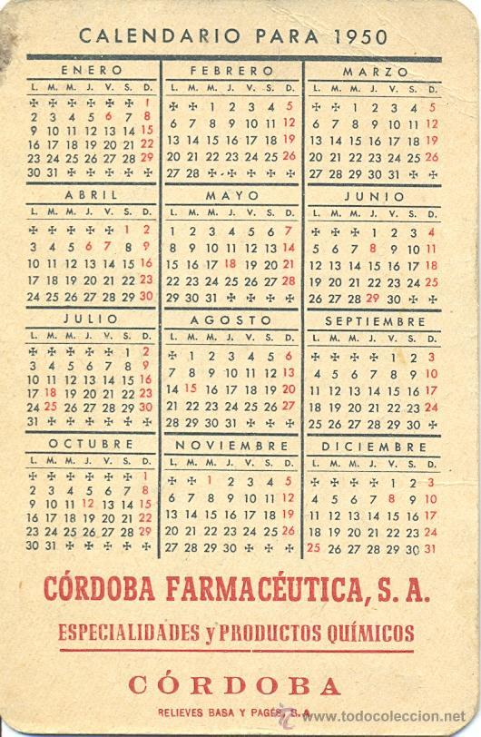 Calendario 1950.Calendario Ano 1950 Publicidad De Cordoba Sold Through