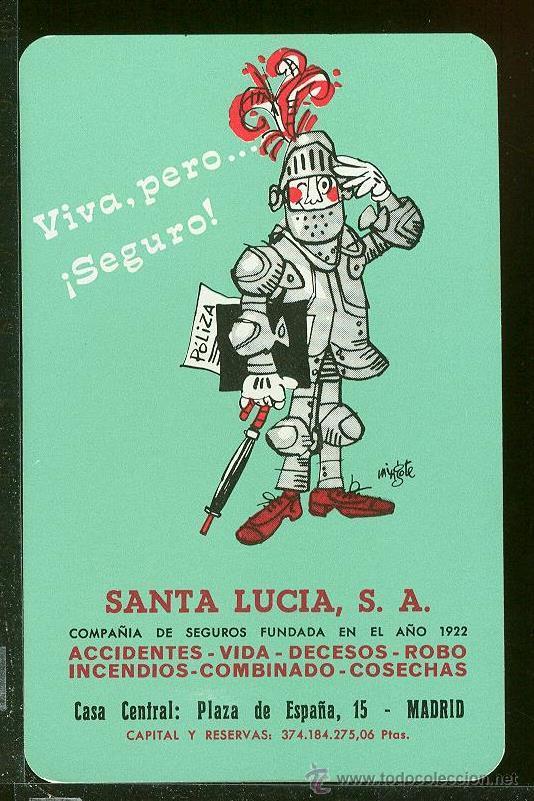 FOURNIER 1972. SANTA LUCIA SEGUROS (Coleccionismo - Calendarios)