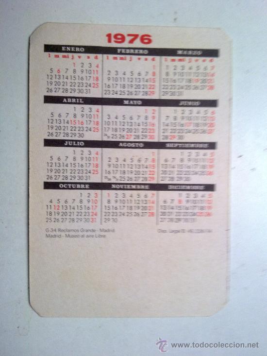 Coleccionismo Calendarios: CALENDARIO 1976, RECLAMOS GRANDE G - 34, MADRID MUSEO AL AIRE LIBRE, COMO NUEVO - Foto 2 - 29360190