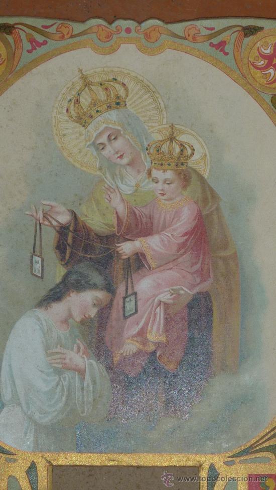 Coleccionismo Calendarios: Calendario cartel modernista de la virgen del carmen. - Foto 2 - 29544996