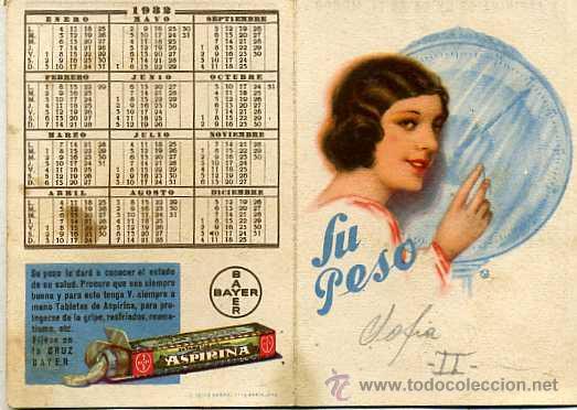 Calendario 1932 Espana.Calendario Diptico Farmacia Aspirina Bayer 1932 Sold At