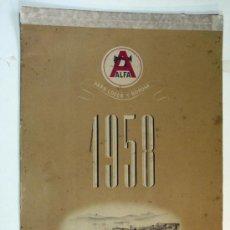 Coleccionismo Calendarios: ANTIGUO CALENDARIO DE PARED MAQUINAS DE COSER ALFA. 1958. Lote 29603166