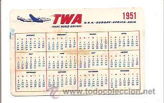 Calendario 1951.Calendario Bolsillo Twa Ano 1951 Sold Through Direct
