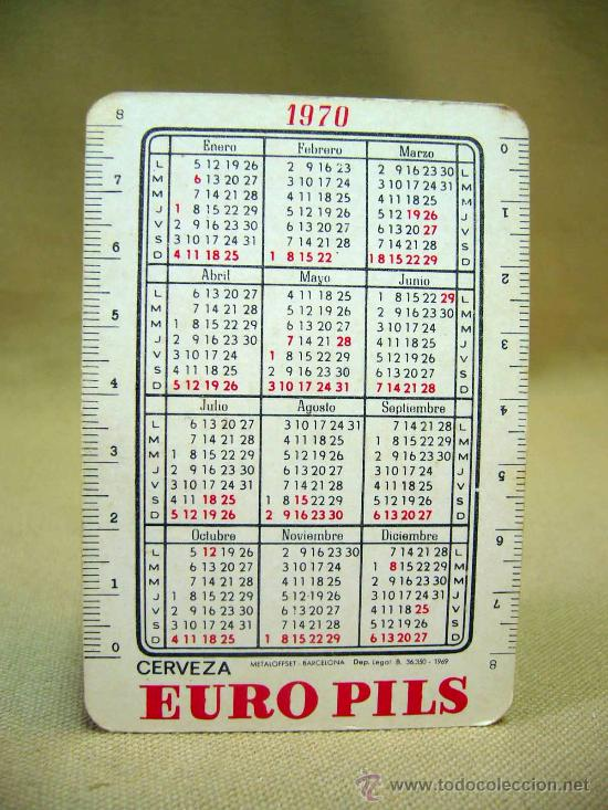 Coleccionismo Calendarios: CALENDARIO de BOLSILLO, CERVEZAS EURO PILS, METALOFFSET, PUNTAS MAL, 1970 - Foto 2 - 29721971