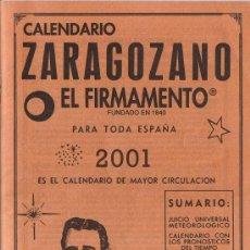Coleccionismo Calendarios: CALENDARIO ZARAGOZANO - 2001 - EL FIRMAMENTO. Lote 29898918